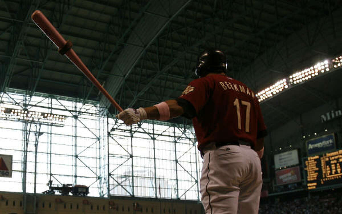 Lance Berkman, using a pink bat for the second straight year, was 1-4 with an RBI.