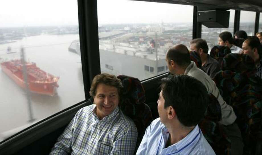 Mexican entrepreneurs view the Port of Houston from their tour bus on Friday. Photo: JOHNNY HANSON, FOR THE CHRONICLE