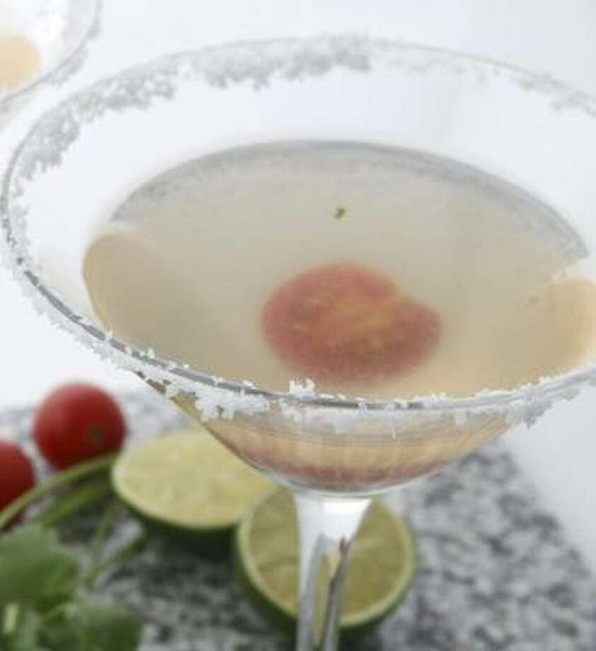 SPIRITED REFRESHMENT: Cherry tomatoes, cilantro and chile take tequila to another level in this cocktail recipe for Drinko de Gallo. Photo: JULIA EWAN, WASHINGTON POST