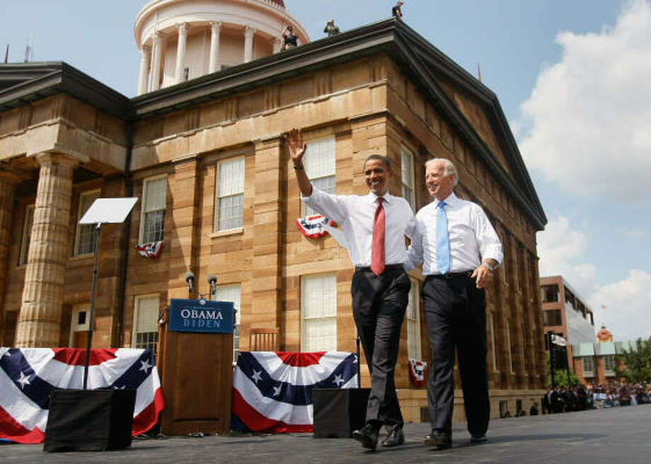 Sen. Barack Obama, D-Ill., appeared with his vice-presidential pick Sen. Joe Biden, D-Del., Saturday at the Old State Capitol in Springfield, Ill. It was their first and only appearance together as running mates before the Democratic National Convention. Photo: Joe Raedle, Getty Images