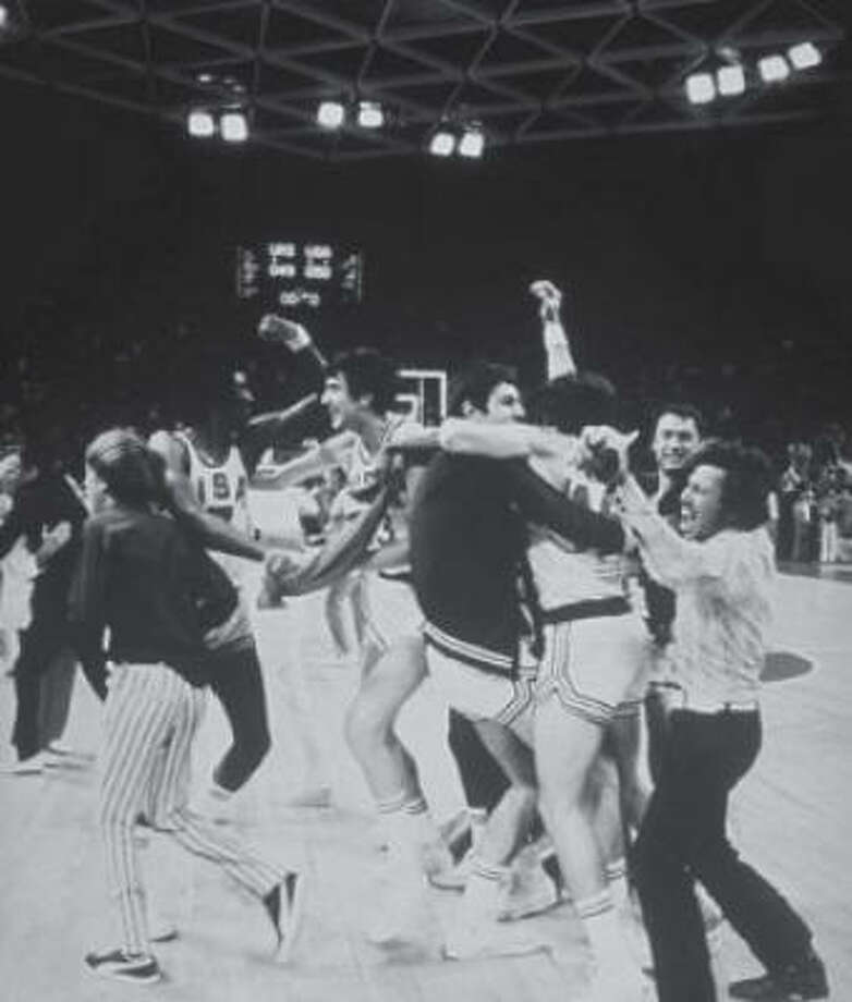 "What: Russia beats United States in basketball. (Above, the U.S. players celebrate prematurely)When:  1972.  Where: Munich. Solomon says:  ""Prior to this one-point defeat, the U.S had won every gold medal in Olympic basketball history."" Photo: Associated Press"