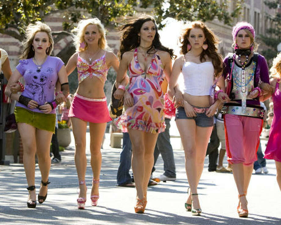 From left, Kate Dennings, Anna Faris, Katherine McPhee, Emma Stone and Rummer Willis star in The House Bunny. Photo: Sony Pictures