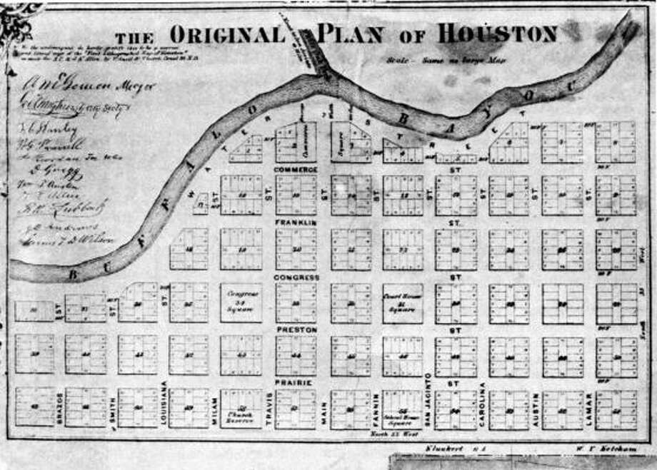 The original plans for Houston. The Allen brothers commissioned Gail Borden to produce a map of the new city. The original map shows a city made up of 62 blocks along Buffalo Bayou. Photo: Gail Borden, HOUSTON PUBLIC LIBRARY