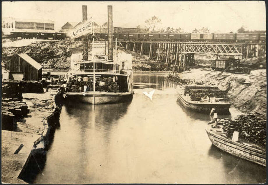 "The steamboat ""Lizzie"" is shown docked at the foot of Main Street in 1876. Photo: Chronicle File"