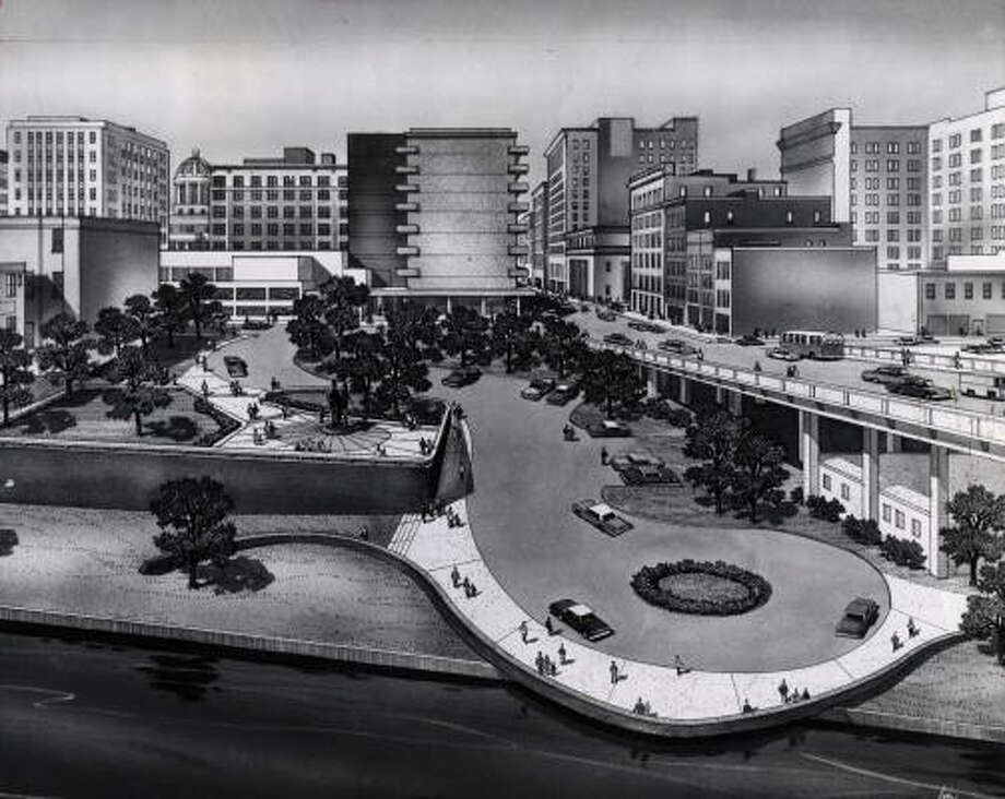 An artist's conception of how the Allen's Landing Park area would look after the planned 1967 completion. Photo: HOUSTON CHRONICLE LIBRARY