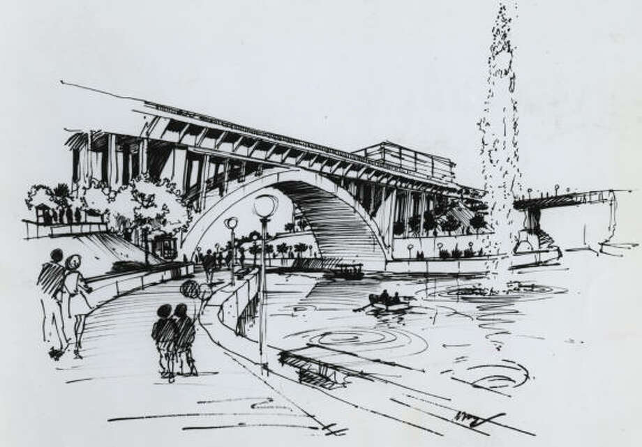 An artist's rendering of the planned Allen's Landing park. Photo: HOUSTON CHRONICLE LIBRARY