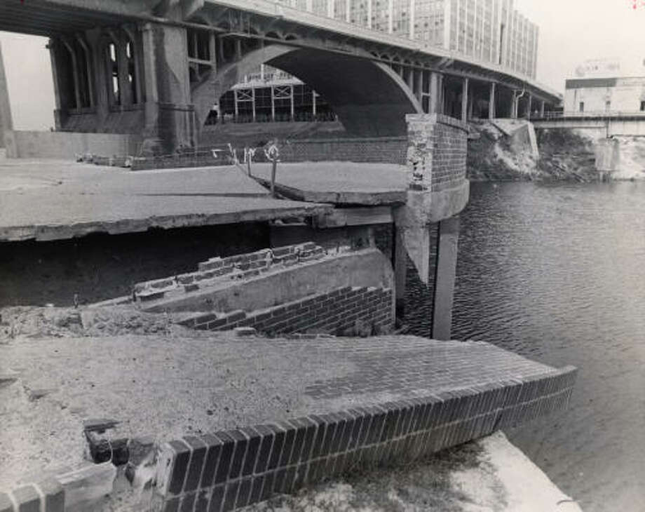 After numerous floods, the area around Allen's Landing was falling apart in 1972. Photo: Chronicle File