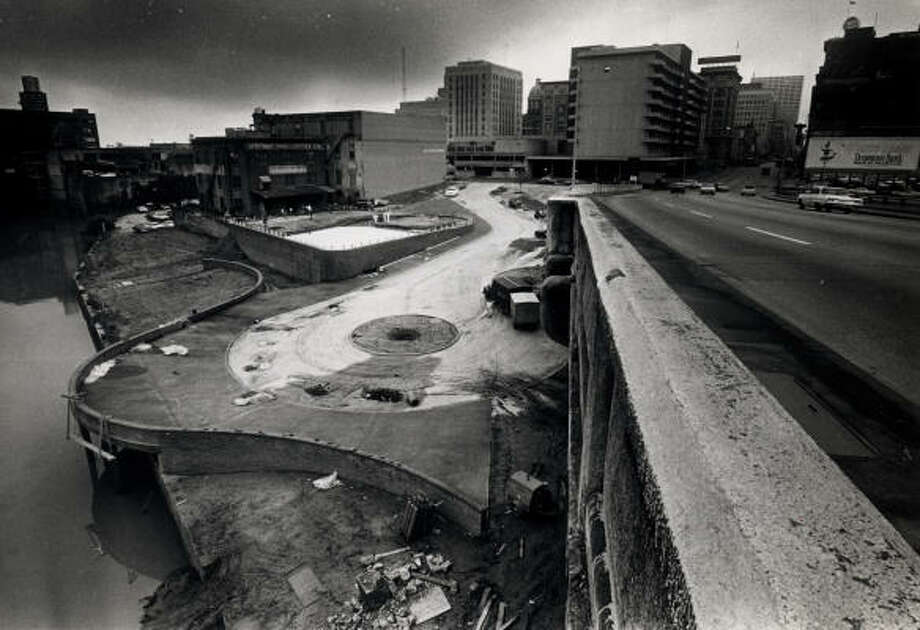 Except for lights and landscaping, Allen's Landing park is complete in May on 1967. Photo: Chronicle File