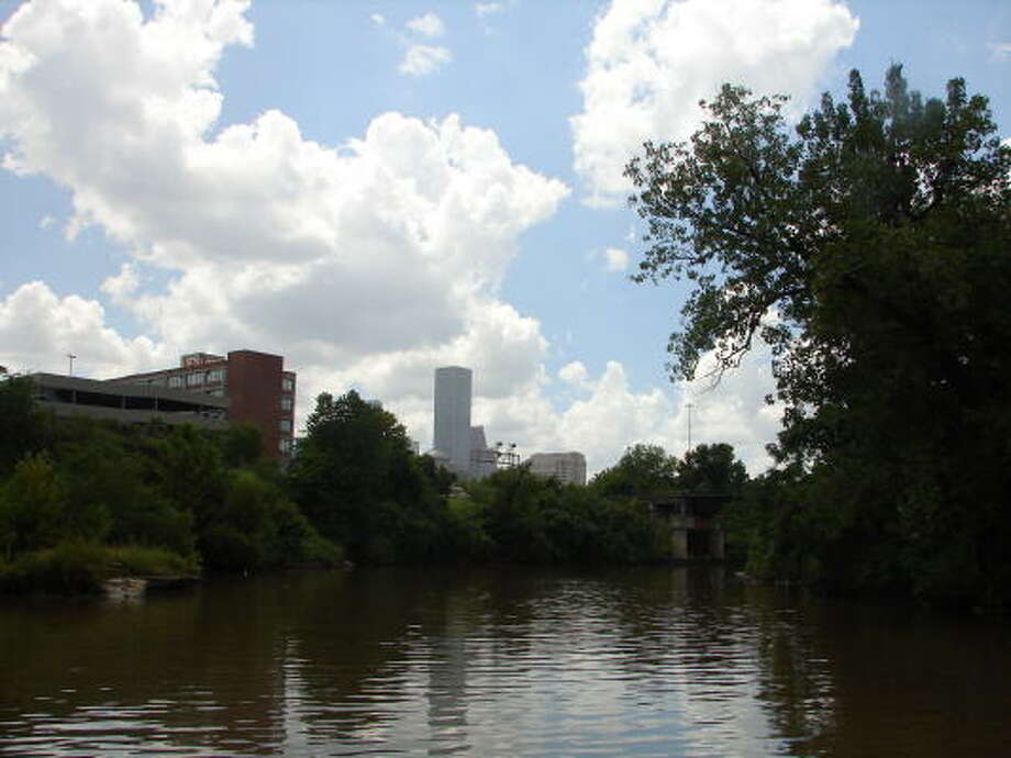 A view looking west down Buffalo Bayou.