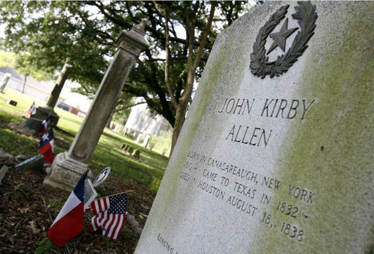 John Kirby Allen (1810-1838) Not only a backer of the Texas Revolution, Allen would later become known as the co-founder of the City of Houston. He died following a bout of