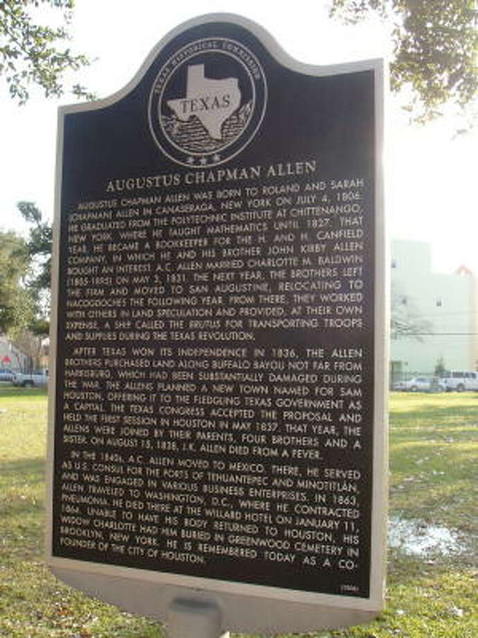 Augustus Chapman Allen marker at Founders Memorial Park.