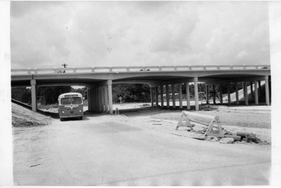 This is the Katy Highway overpass when it was new. It runs over Campbell Road in Spring Branch and is a portion of the state highway paving job which widens the once narrow Katy Highway into a four lane thoroughfare from Fries Road to Addicks, a distance of approximately nine miles. Taken May 1956. Photo: UNKNOWN, HOUSTON CHRONICLE