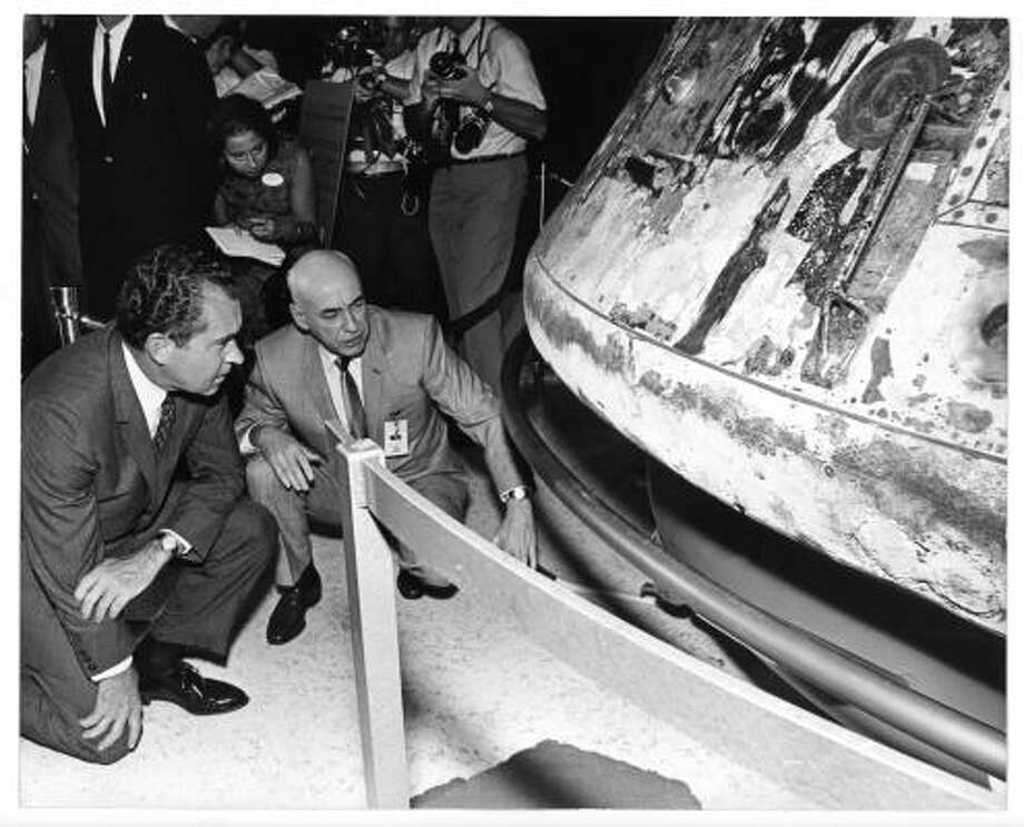 Manned Spacecraft Center director Dr. Robert Gilruth briefs GOP candidate Richard Nixon during tour of center.  Taken 1968. Photo: Fred Bunch, Houston Chronicle