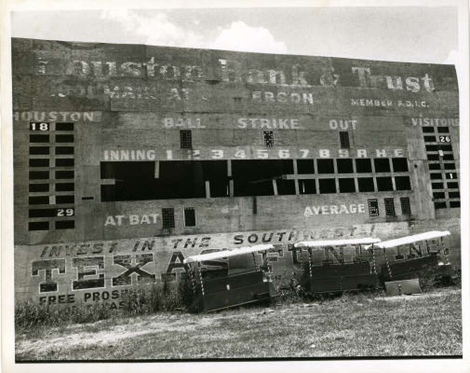 07/03/1971 - Old dilapidated scoreboard from Colt Stadium in Houston.  Ray Covey / Houston Post Photo: RAY COVEY, Houston Chronicle