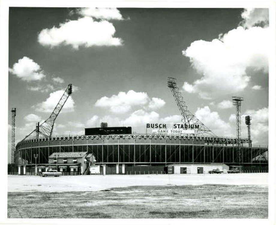 Busch Stadium; May 28, 1956 Photographer: Pete Vazquez HOUSTON POST STAFF Photo: PETE VAZQUEZ, HOUSTON CHRONICLE