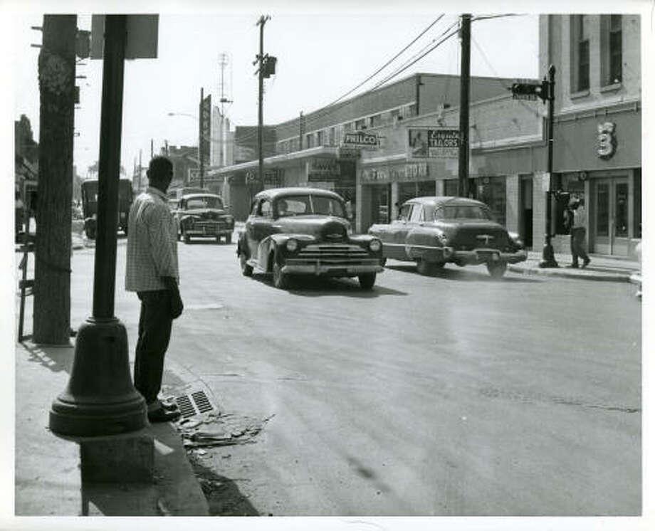 Lyons Avenue at Jensen, Oct. 1956. Photo: DAN HARDY, HOUSTON CHRONICLE