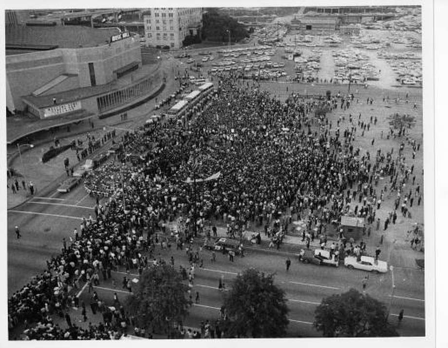 Crowds outside Sam Houston Coliseum/Music Hall for Lyndon Johnson campaign stop. Circa 11/3/64. Photo: Post