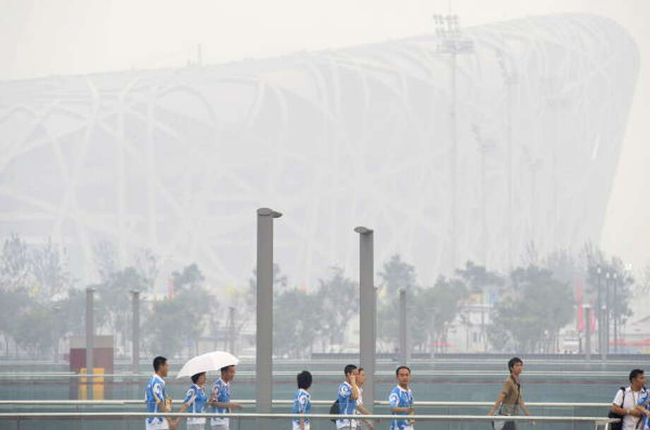 Aug. 4, 2008: Here is the view outside the stadium known as the Bird's Nest. Photo: MICHAEL KAPPELER, AFP/Getty Images