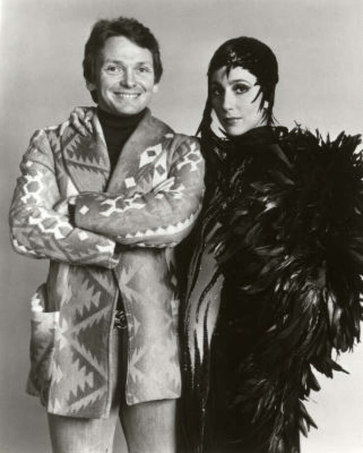 Bob Mackie and Cher in 1975. Mackie met the singer in 1967 when she was a guest on The Carol Burnett Show. Photo: CBS Television