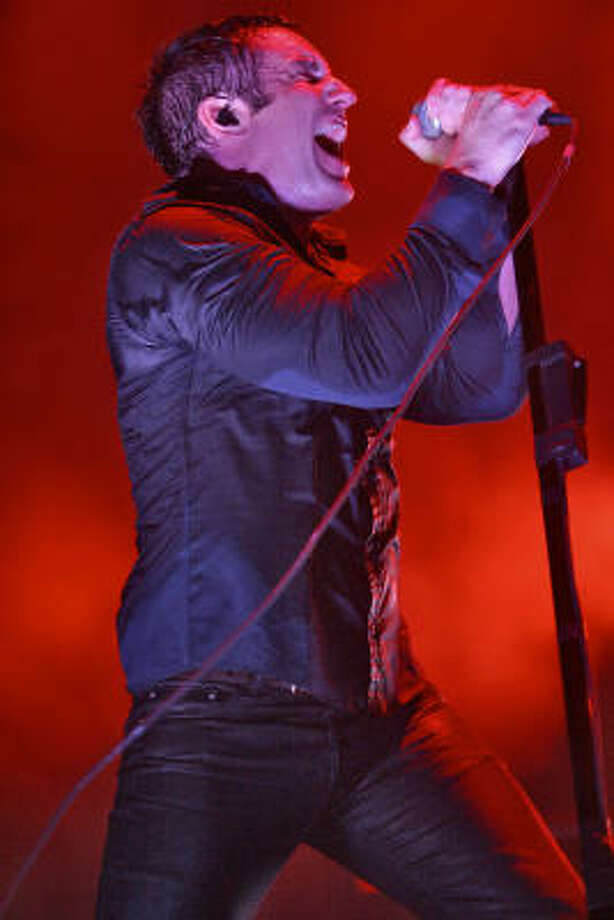 Trent Reznor, lead singer of Nine Inch Nails in concert at the Toyota Center on Aug. 16. Photo: Bill Olive, For The Chronicle