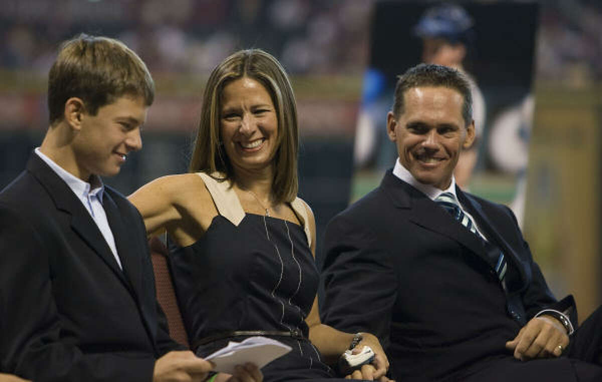 Retired Houston Astros second basemen Craig Biggio (right) along with his wife Patty (center) and son Conor (right) during his jersey retirement before Sunday's game at Minute Maid Park.