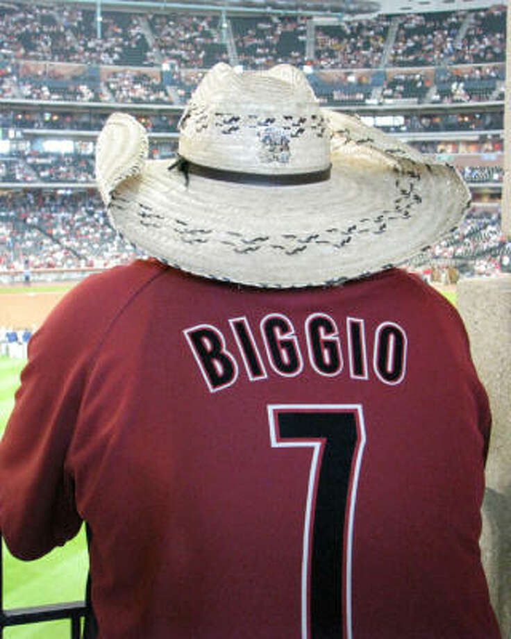 Game 3, Diamondbacks versus Astros, August 17, 2008:Some of the Caballitos brought their Craig Biggio jerseys out the closet for the special occasion. Photo: Chris Elliott, For The Chronicle