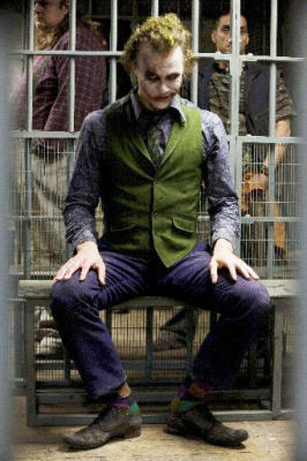 "Heath Ledger in costume as ""The Joker"" in the The Dark Knight. Ledger, 28, was found dead Jan. 22. Photo: Warner Bros"