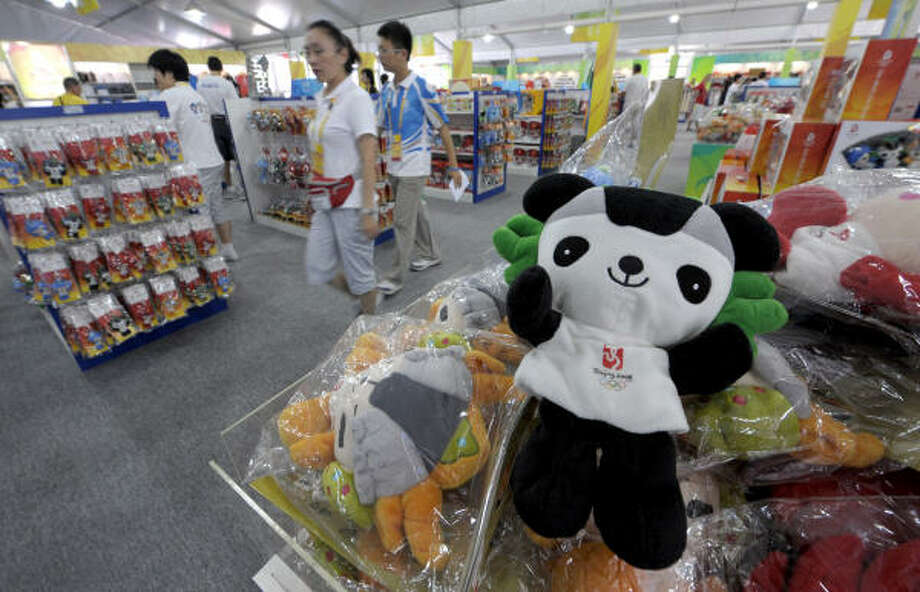 The Jingjing panda mascot (one of five for the Games) is on sale at a shop in Beijing. The Games begin with the opening ceremony on Friday. Photo: MICHAEL KAPPELER, AFP/Getty Images