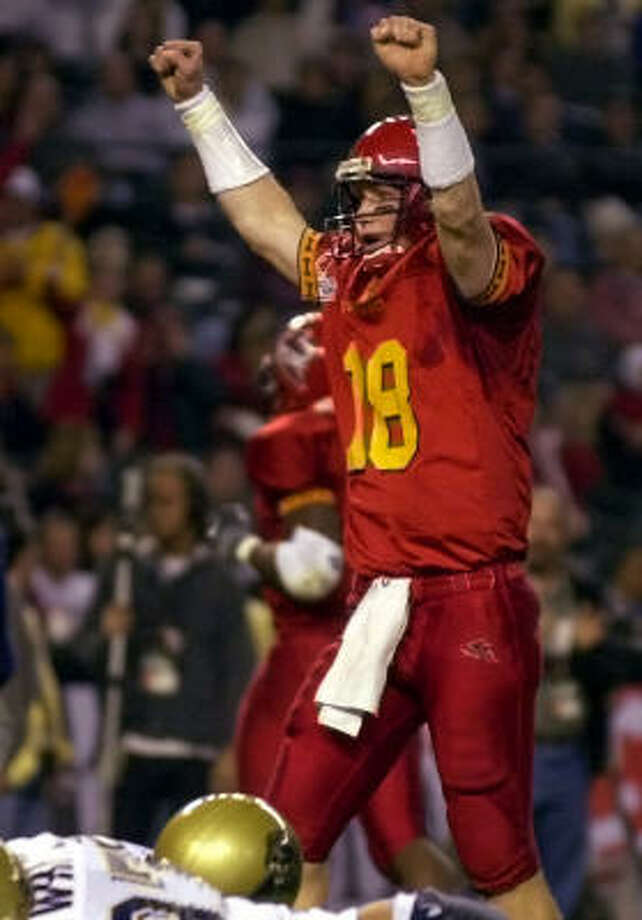 Iowa State CYCLONES quarterback Sage Rosenfels celebrates a touchdown during the first quarter of the Insight.com Bowl Thursday, Dec. 28, 2000. Rosenfels currently plays for the Texans and appeared in nine games in 2007. He finished the season with 1,684 passing yards, 15 touchdowns and a 84.8 passer rating. Photo: MATT YORK, AP