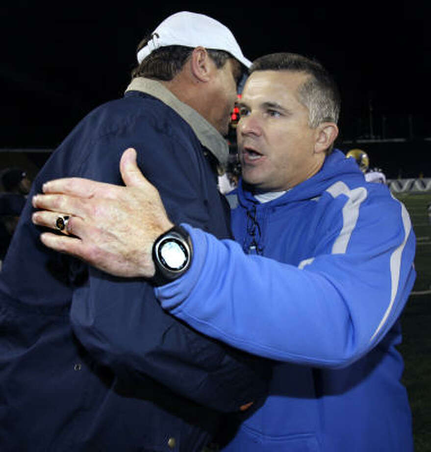 The coach of the Tulsa University GOLDEN HURRICANES, Todd Graham, right, greets Rice coach David Bailiff after a football game Saturday, Nov. 24, 2007, in Houston. Tulsa beat Rice 48-43. In 2006, Graham, who coached Rice prior to accepting the position with Tulsa, led the Owls to an overall 7-6 record and the school's first bowl berth in 45 years. Photo: David J. Phillip, AP