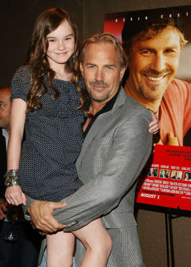 Actors Madeline Carroll and Kevin Costner attend a screening of Swing Vote hosted by Touchstone Pictures and Treehouse Films at The Tribeca Grand Hotel on July 30 in New York City. Photo: Stephen Lovekin, Getty Images
