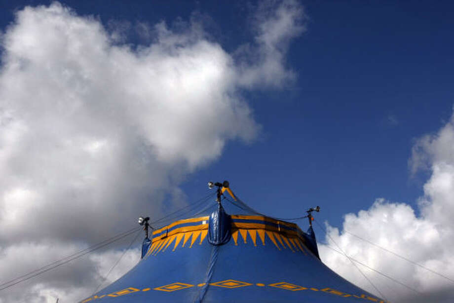 The big top is set up for the UniverSoul Circus at Butler Stadium in Houston. Photo: Johnny Hanson, Chronicle