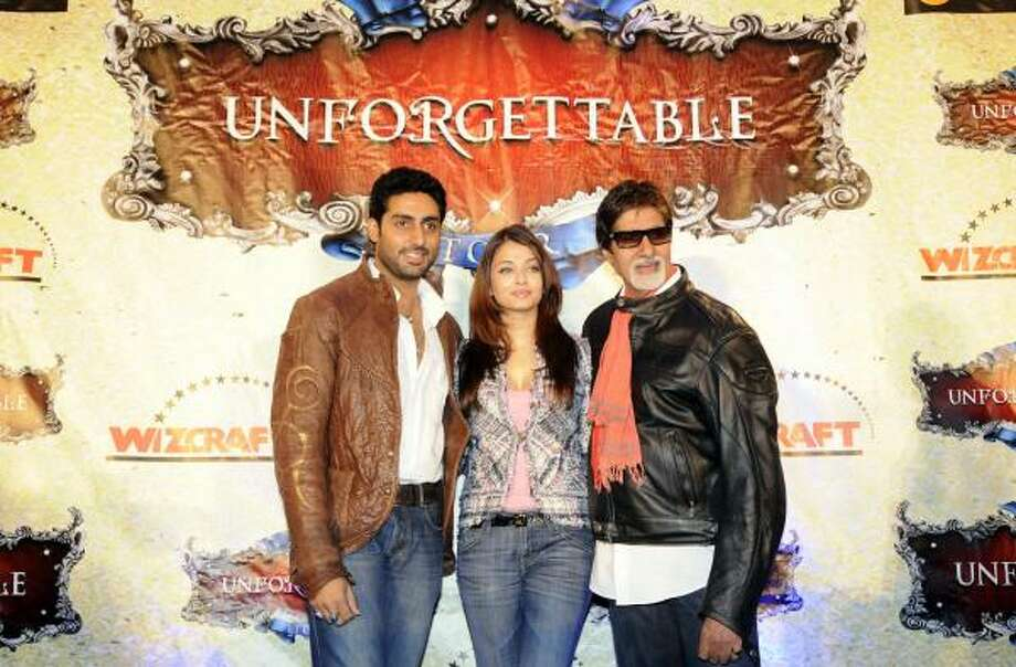 The Unforgettable Tour featuring (l-r) Indian actors Abhishek Bachchan, wife Aishwarya Rai Bachchan, and father Amitabh Bachchan will stop in Houston Saturday for a performance of its Bollywood-inspired show. Photo: Aaron Harris, AP