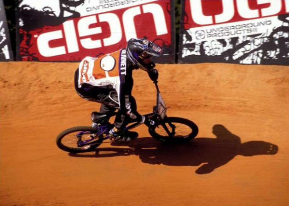 Conroe's Kyle Bennett became only the second elite BMX racer to win back-to-back world championships, when he captured the world title in 2003 in Australia. Photo: Courtesy Of National Bicycle Lea