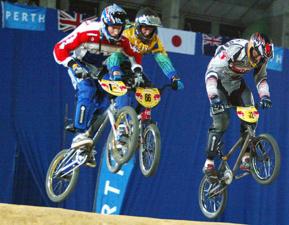 "Three-time world bicycle motocross (BMX) champion Kyle Bennett, left, is nicknamed ""Butter"", but he is hoping some rival does not butt into his path and spread him across the Olympic course in Beijing. Photo: TONY ASHBY, AFP/Getty Images"
