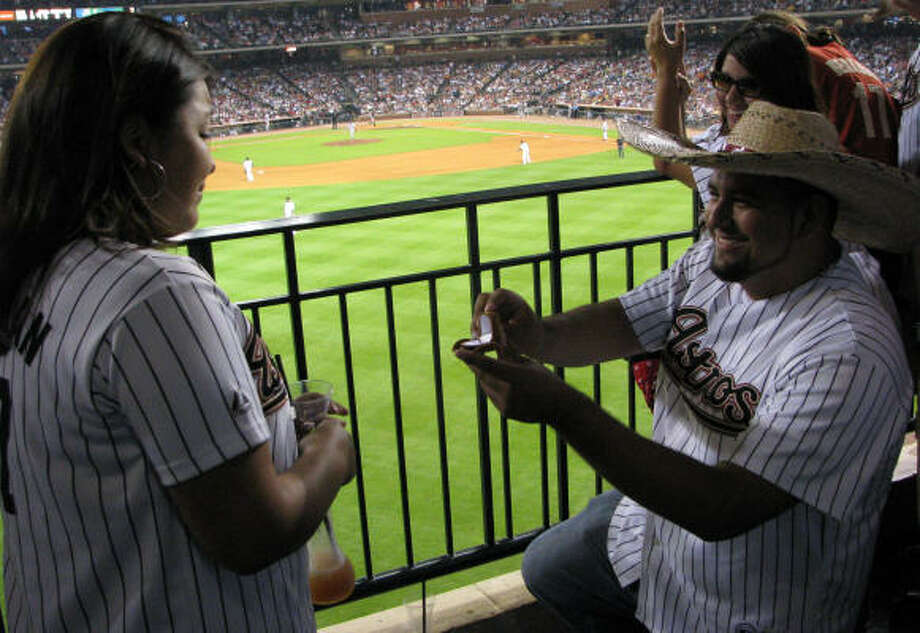 12) It's probably not a good idea to propose at a ball game unless your significant other is a superfan. Plus it's super cliche. Be original. Photo: Chris Elliott, For The Chronicle