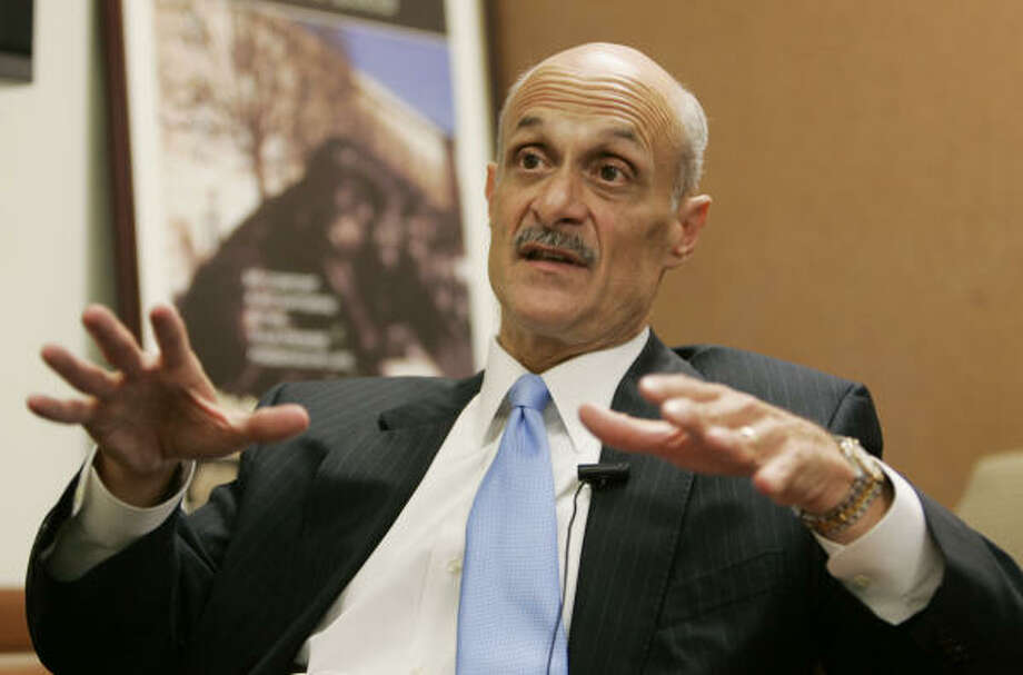 Homeland Security Secretary Michael Chertoff talks about a new security plan Wednesday in Washington. Photo: PABLO MARTINEZ MONSIVAIS, AP