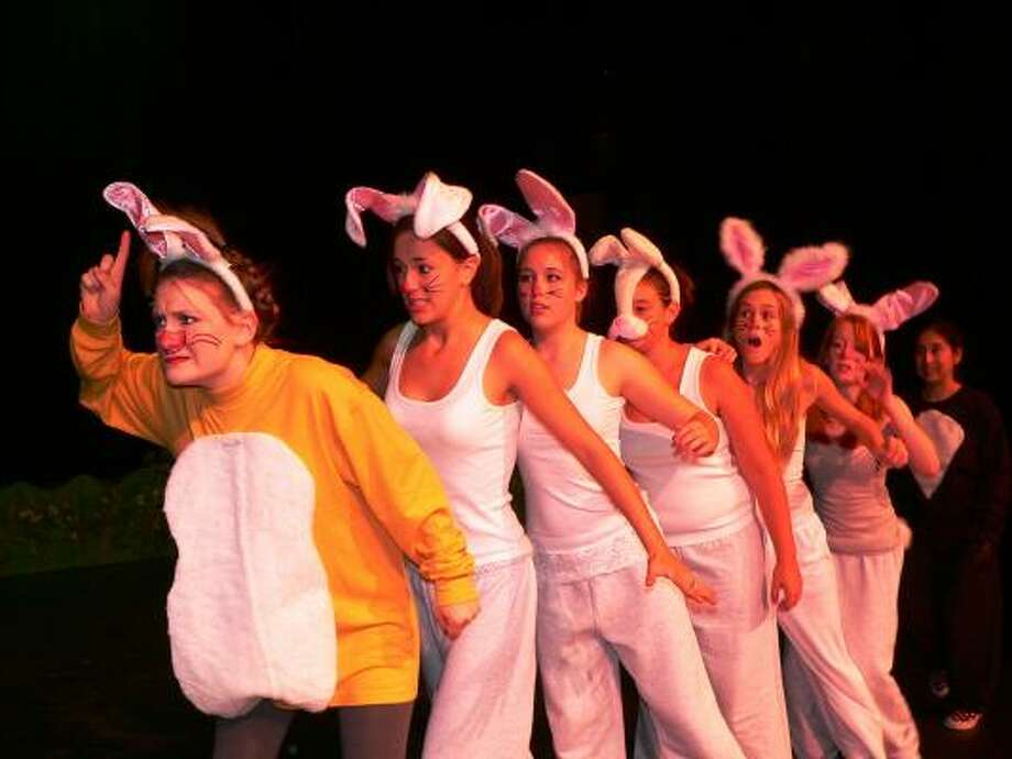 "Rabbit, played by Erin Schuppert, is joined by friends Ashley Jackson, Jill Murphy, Tori Robideau, May Schultz and Lindsey Korte and Valerie Reyes in a production of  ""Winnie the Pooh."""