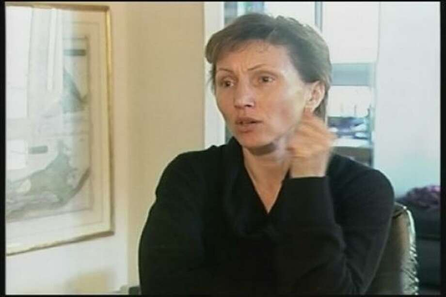 In this image from television, Marina Litvinenko, widow of former Russian spy Alexander Litvinenko, speaks during an interview Saturday in London. In her first interview since the death of her husband, Litvinenko said she was reluctant to comment directly on his death because she did not want to interfere with the police investigation. Photo: AP