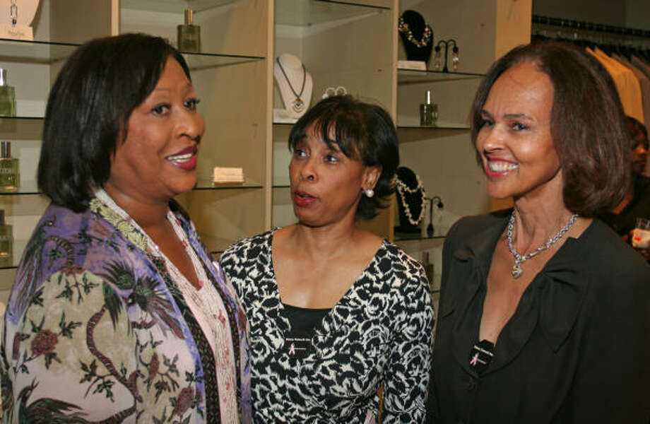Sisters Network CEO and founder Karen Jackson, from left, Phyllis Williams and Gayla Gardner spread the word on the charity's capital campaign during a special evening at Lucho. Photo: Gary Fountain, For The Chronicle