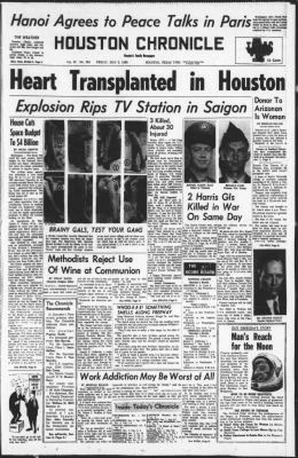 In its May 3, 1968, edition, the Chronicle told the story of Houston's first heart transplant, by Dr. Denton Cooley.  Less than four months later Dr. Michael DeBakey succeeded in a multiple organ transplant. Photo: CHRONICLE FILE