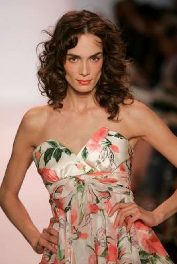 Naeem Khan's spring 2007 collection includes frilly flower-print gowns. Photo: Mark Mainz, Getty Images
