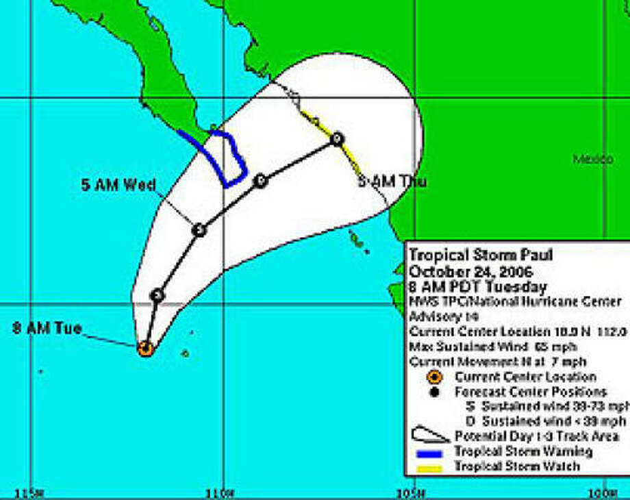 Three-day forecast for Tropical Storm Paul as of 10 a.m. CDT today. Photo: NOAA / NWS