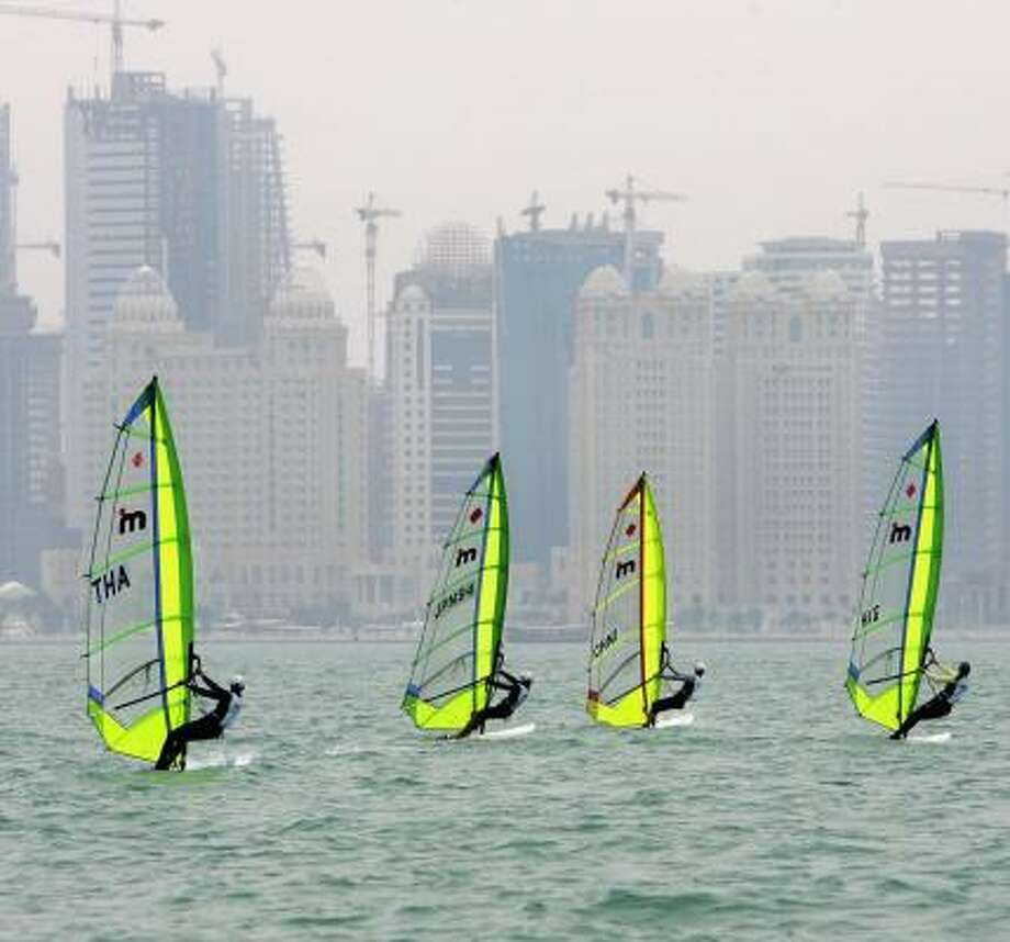 Doha, Qatar (the site of windsurfing during the Asian Games) is trying to get its hands on the Olympic rings. Photo: Clive Rose, Getty