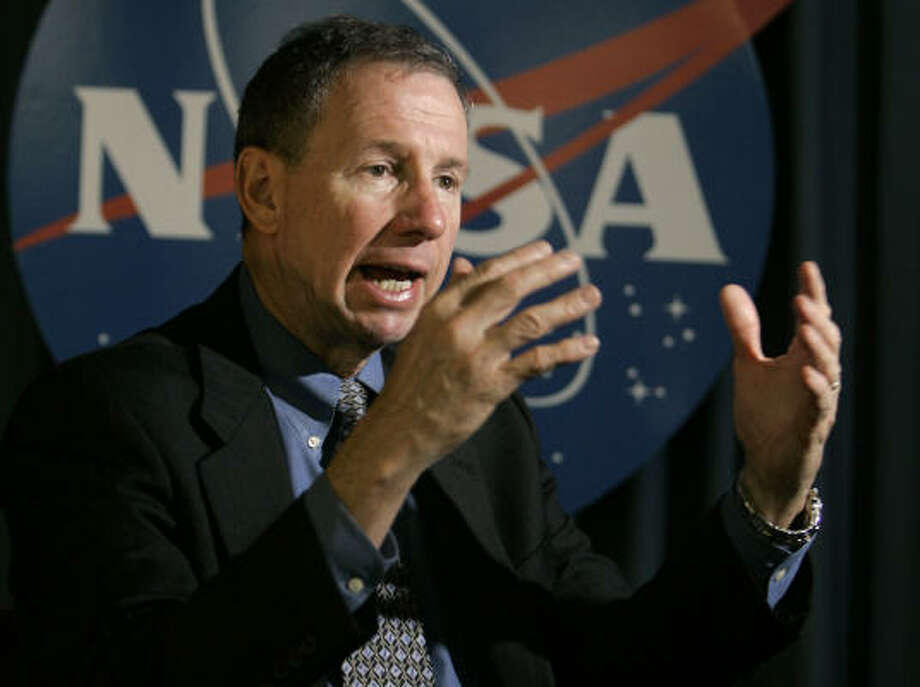 Mike Griffin, NASA administrator, speaks about the shuttle mission in an interview at the Kennedy Space Center in Cape Canaveral, Fla., today. Photo: John Raoux, AP