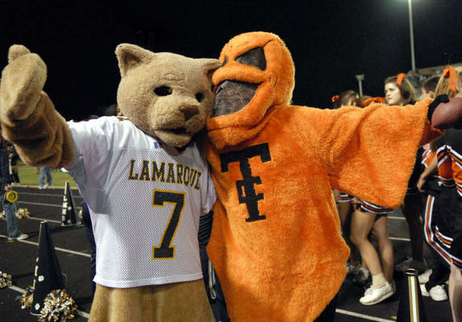 The La Marque Cougar and Texas City Stingaree mascots will meet up again on Saturday in the Battle by the Bay, Part II. Photo: Kim Christensen, For The Chronicle