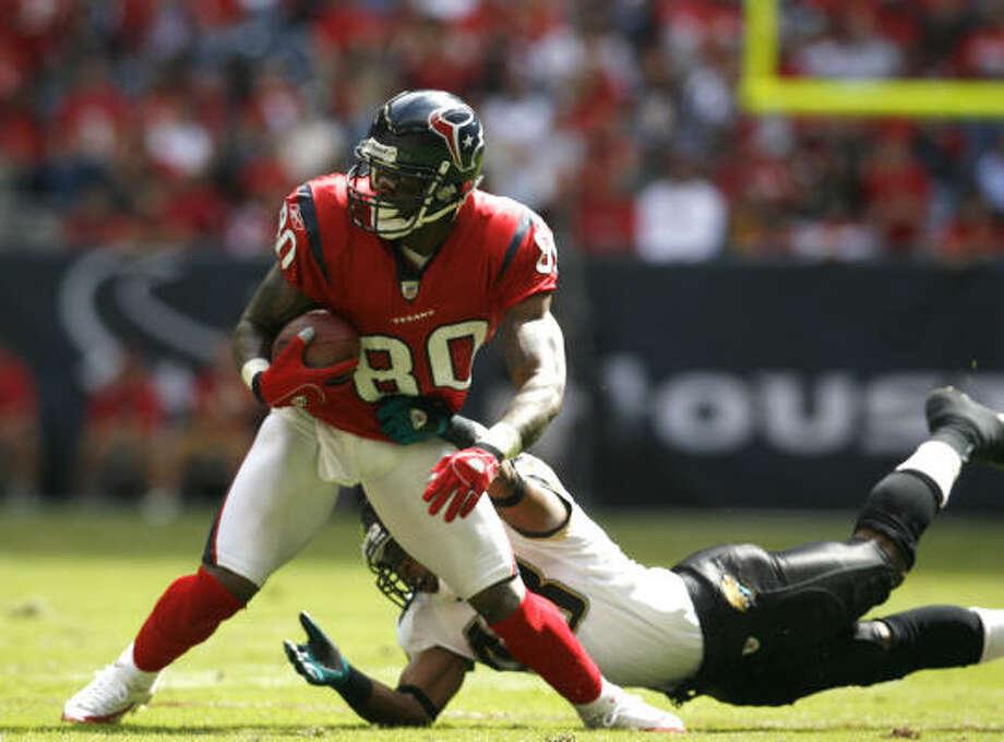 Andre Johnson shows off his Pro Bowl form against the Jaguars. Photo: KAREN WARREN, Chronicle