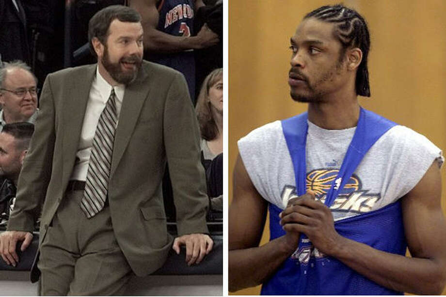 NBA player Latrell Sprewell, right, garnered headlines in 1997 when he attacked Golden State Warriors head coach P. J. Carlesimo. Sprewell's contract was voided by the Warriors and the NBA suspended him for 82 games. Photo: Houston Chronicle Files