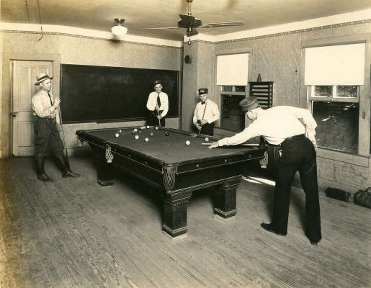 Houston Electric Company Employees enjoying a game of pool