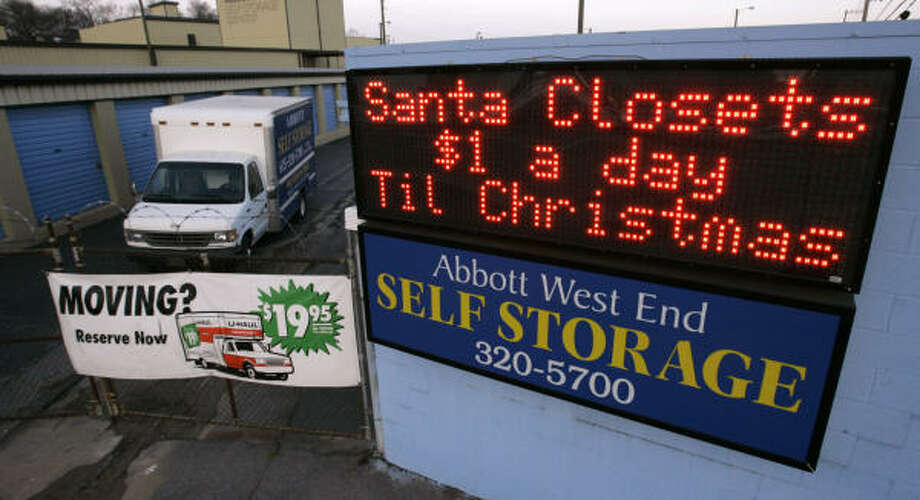 At Abbott Self-Storage in Nashville, Tenn., people are renting the smaller units to hide Christmas gifts from their children and spouses. Photo: Mark Humphrey, AP